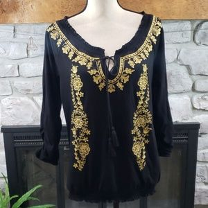 INC International black gold beaded knit blouse L